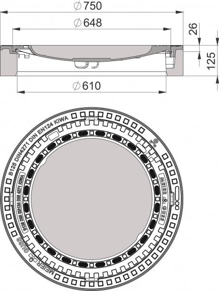 Beton-Guss-Schachtabdeckung Klasse B 125 rund, mit Ventilation